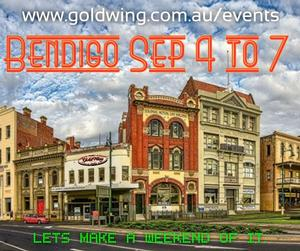 We regret this event has been Cancelled. Bendigo Goldrush Rally Fri 4 Sep 20 arrive and welcome dinner/pizza Sat 5 Sep Ride - Morning tea @ Heathcote, lunch at Marong, dinner at Bendigo Sun 6 Sep Market Ride, Committee meeting and dinner Mon 7 Sep farewells.